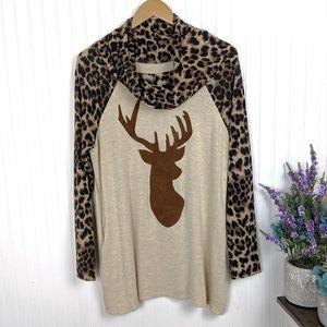 Tops - Deer & Animal Print Cowl Neck Tunic w/ Pockets Med